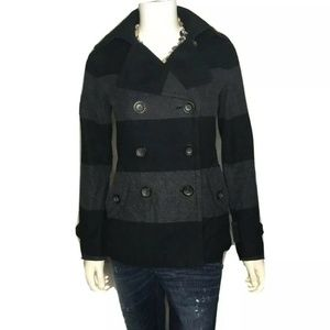 Gap Womens Black/Gray Striped Wool Peacoat S